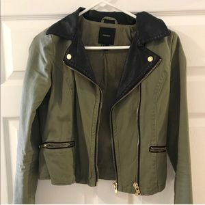Forever 21 Green & Black Moto jacket